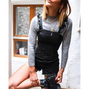 Pants - Black Denim Washed Ruffle Romper
